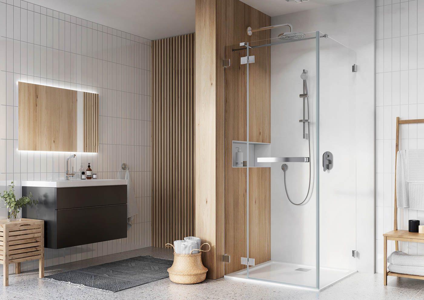 Narożna kabina prysznicowa IMMERSIO marki Aquante